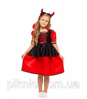 Костюм Дьяволица, Вампирша для девочек 4,5,6,7,8,9 лет. Детский карнавальный новогодний костюм 344, фото 2