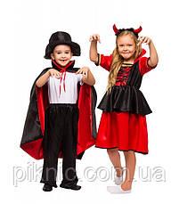 Костюм Дьяволица, Вампирша для девочек 4,5,6,7,8,9 лет. Детский карнавальный новогодний костюм 344, фото 3