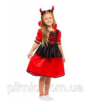 Детский костюм Дьяволица, Вампирша для девочек 4,5,6,7,8,9 лет. Карнавальный, новогодний костюм, фото 2