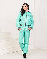 Ментоловый теплый зимний дутый женский лыжный спортивный костюм на  синтепоне с капюшоном на куртке. Арт 14de43ea8ac