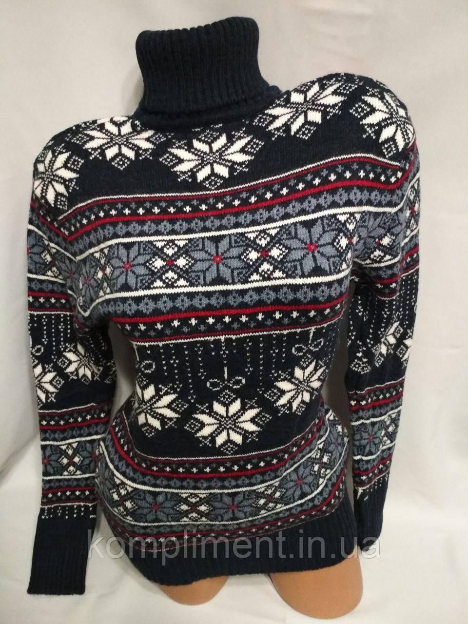 Женский шерстяной свитер с горлом со снежинками, синий. Турция.