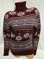 Жіночий вовняний светр з горлом зі сніжинками, бордовий. Туреччина., фото 1