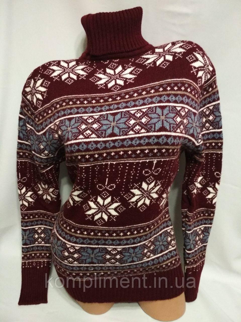 Жіночий вовняний светр з горлом зі сніжинками, бордовий. Туреччина.