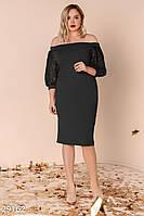 Черное вечернее платье-миди больших размеров