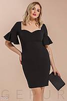 Изящное вечернее платье-миди черного цвета больших размеров