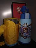 Термос детский питьевой с трубочкой и термочехлом Принцесса София 500 мл., фото 2