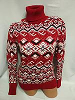 Женский шерстяной вязаный свитер с горлом, красный. Турция., фото 1
