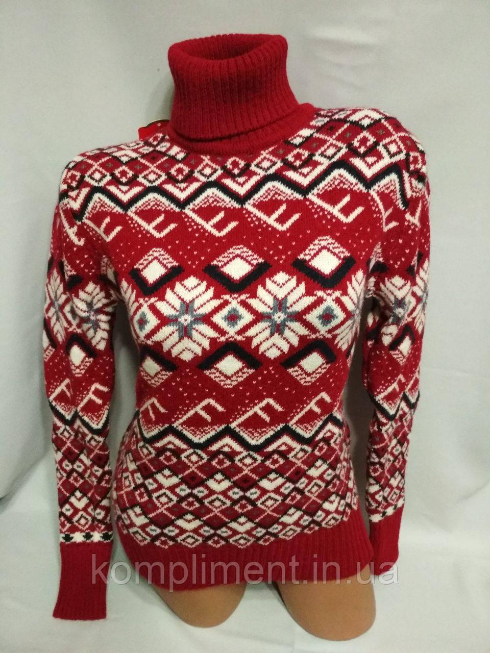 Женский шерстяной вязаный свитер с горлом, красный. Турция.