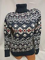 Женский шерстяной вязаный свитер с горлом, джинс. Турция., фото 1