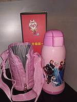 Термос детский питьевой с трубочкой и термочехлом Холодное Сердце 500 мл., фото 1