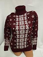 """Жіночий в'язаний шерстяний светр """"зимовий орнамент"""", бордовий. Туреччина., фото 1"""