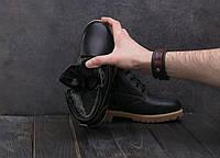 Ботинки Yuves 444 (в стиле Clarks) (зима, подростковые, кожа, черный)