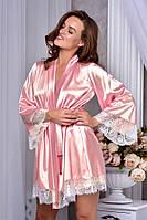 Изысканный атласный халат с кружевом шантильи Персиковый.