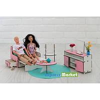 Мебель для кукольного домика Барби NestWood, бело-розовая (ГОСТИНАЯ)