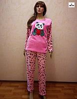 Пижама зимняя женская теплая розовая со звездами 42-54 р.