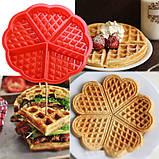 Силиконовая форма для выпечки вафель в виде Сердца, фото 6