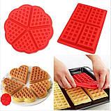 Силиконовая форма для выпечки вафель в виде Сердца, фото 7
