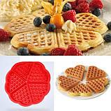 Силиконовая форма для выпечки вафель в виде Сердца, фото 8