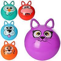 Мяч для фитнесас ушками MS 0471, 40см, одностикер, 350г, 5 видов (животные), в кульке,17-13-3см