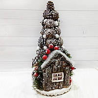Настольная новогодняя елка с декором из шишек Ручная работа