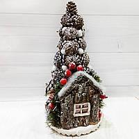 Новогодняя елка настольная с декором из шишек Ручная работа