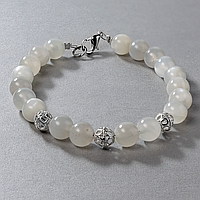 Лунный камень, Ø8 мм., серебро, браслет, 484БРЛ