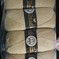 Турецкая  пряжа для вязания  Madame Tricote MERİNO GOLD 400 (мерино голд )меринос 60% шерсть 114 песочный