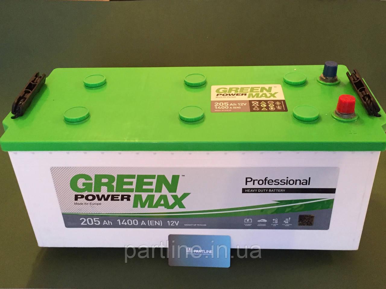 Аккумулятор Грузовой 6СТ-205 (ГАРАНТИЯ 2 ГОДА) Green Power MAX (Пусковой ток 1400 En, 513х217х223)