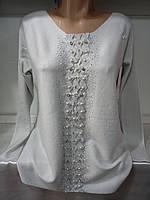 Свитер/ блуза с бусинками кашемировый женский батальный, фото 1