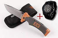 Нож GERBER Bear Grylls с чехлом + часы Swiss Army в подарок