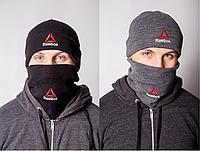 Зимовий чоловічий комплект Reebok баф+шапка чорна