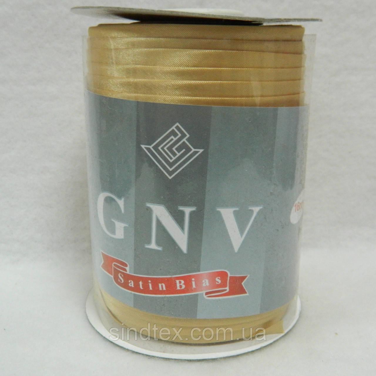 008 Косая бейка атласная (satin) GNV SQ, золото, 144 ярда
