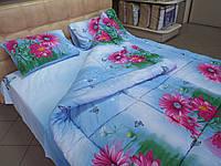 Одеяло стеганое чистая шерсть фото  сатин Герберы  200*220