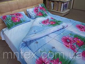 Одеяло стеганое чистая шерсть фото  сатин Герберы