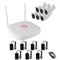Комплект беспроводного WiFi видеонаблюдения на 6 камер 1 Мп на 300 метров LONGSE WIFI2008PG1S1006, КОД: 146779