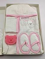 Подарочный набор для новорожденного банный халат белый для купания подарок новорожденному 4 предмета тапочки