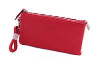 Красный женский кошелек на молнии с ручкой