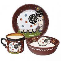 Набор детский 3 предмета Добра глина Барашек кружкапиала и тарелка, КОД: 171254
