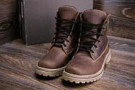 Мужские зимние кожаные ботинки Timberlend Crazy Shoes Chocolate, фото 1