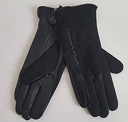Замшевые женские перчатки черного цвета