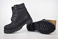 Женские ботинки Тимберленд нубук черные с мехом (Топ Реплика!), фото 1