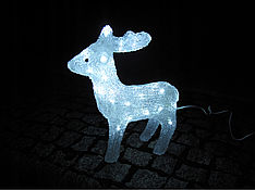 Новогодняя акриловая статуя олененок смотрит вперед, Светящиеся новогодние олени 40LED, фото 2