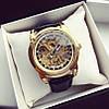 Часы механические скелетоны  с автоподзаводом Tissot A85 115843 золотистые с черным ремнем копия