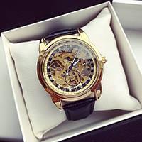 Часы механические скелетоны  с автоподзаводом Tissot A85 115843 золотистые с черным ремнем копия, фото 1