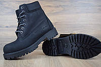 Ботинки женские  Тимберленд нубук черные с мехом (Топ Реплика!)