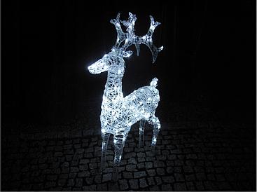 Новогодняя акриловая статуя олень Большой  RENIFER, Светящиеся новогодние олени 100 LED