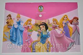 """Папка-конверт А4, на кнопке """"Принцессы"""" розовая"""