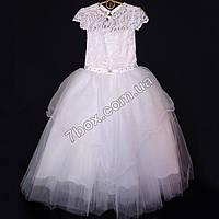 Детское нарядное платье Дама 6-7лет (белое), фото 1