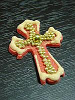 Крестик красный с золотом