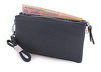 Женский кошелек на молнии и с ручкой черный